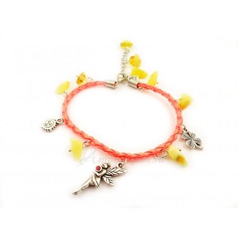 Браслет с янтарем на кожаном шнурке коралловый