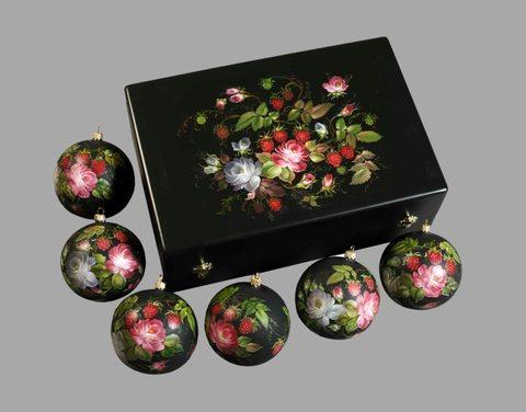 Набор из 6 елочных шаров в шкатулке SET04D-667785789
