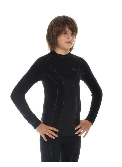 Термобелье рубашка Brubeck Thermo черная (LS11500) подростковая для мальчиков