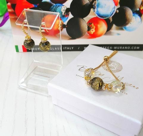 Комплект из браслета и серег со стразами Allegra Ca'D'oro Gold Black CC064O