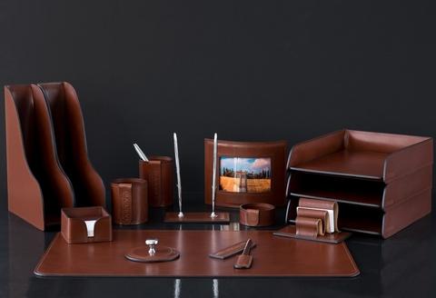 Письменный настольный набор из кожи Люкс Full Grain Toscana Таn 15 предметов