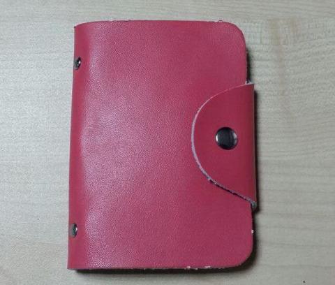 Визитница кредитница женская из натуральной кожи розового цвета на 26 карт DoubleCity BC-01-PN