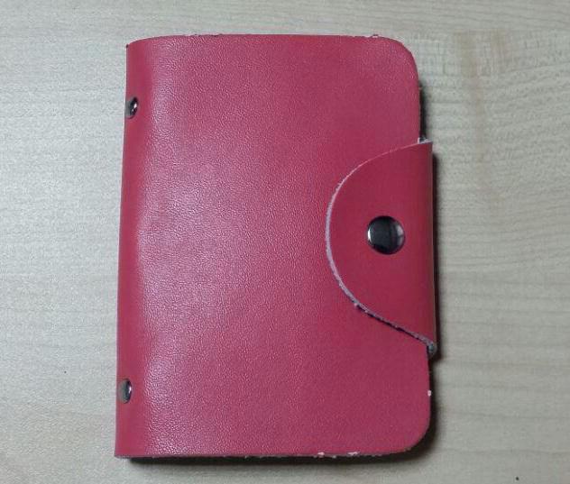 Визитница из кожи розовая DoubleCity BC-01-PN