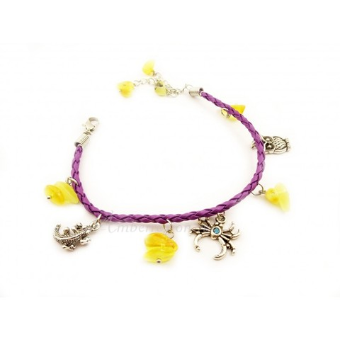 Браслет с янтарем на кожаном шнурке фиолетовый