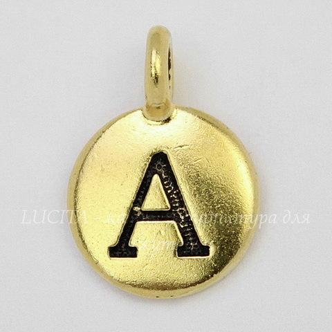 """Подвеска TierraCast """"Буква A"""" (цвет-античное золото) 17х12 мм"""