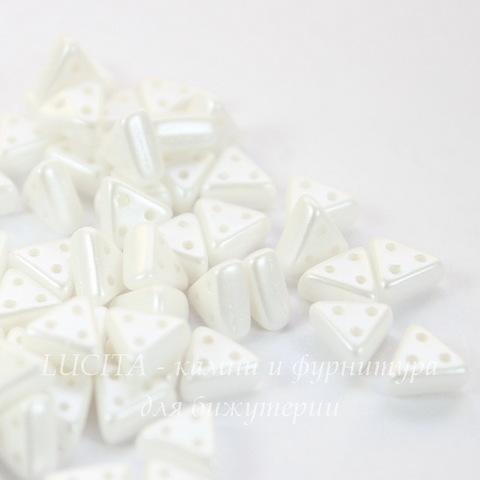 Бусина Emma Треугольник с 3 отверстиями, 6х3 мм, перламутрово-белая
