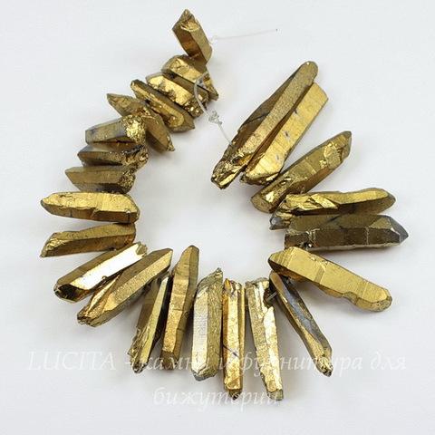Бусина Кварц (тониров), продолговатая, цвет - золотой, 13-40 мм, нить