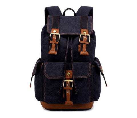 BAG371-1 Большой мужской рюкзак из прочной ткани черного цвета