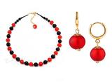 Комплект Domino Perla Matt красный с красными серьгами