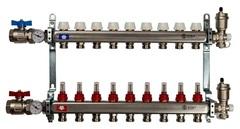 Коллектор Stout на 9 контуров с расходомерами для тёплого пола из нержавеющей стали в сборе SMS-0907-000009