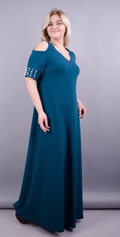 Дюшес. Вечернее платье плюс сайз. Изумруд.