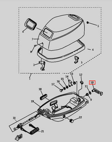 Ручка защелки колпака для лодочного мотора T9.8 Sea-PRO (1-10)