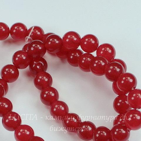 Бусина Жадеит (тониров), шарик, цвет - темный красный, 8 мм, нить