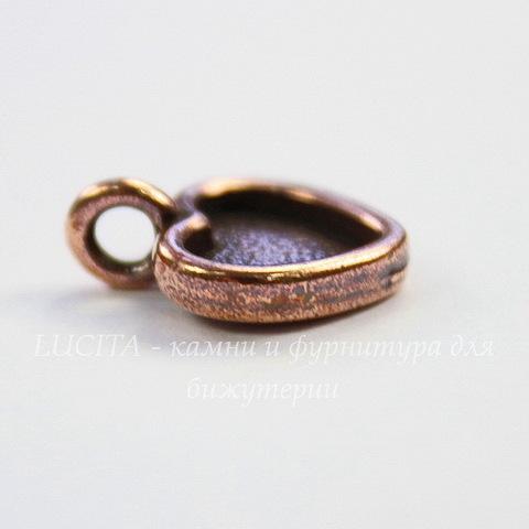 """Сеттинг - основа - подвеска TierraCast """"Сердце"""" для кабошона 10х9 мм (цвет-античная медь) 16х13 мм"""