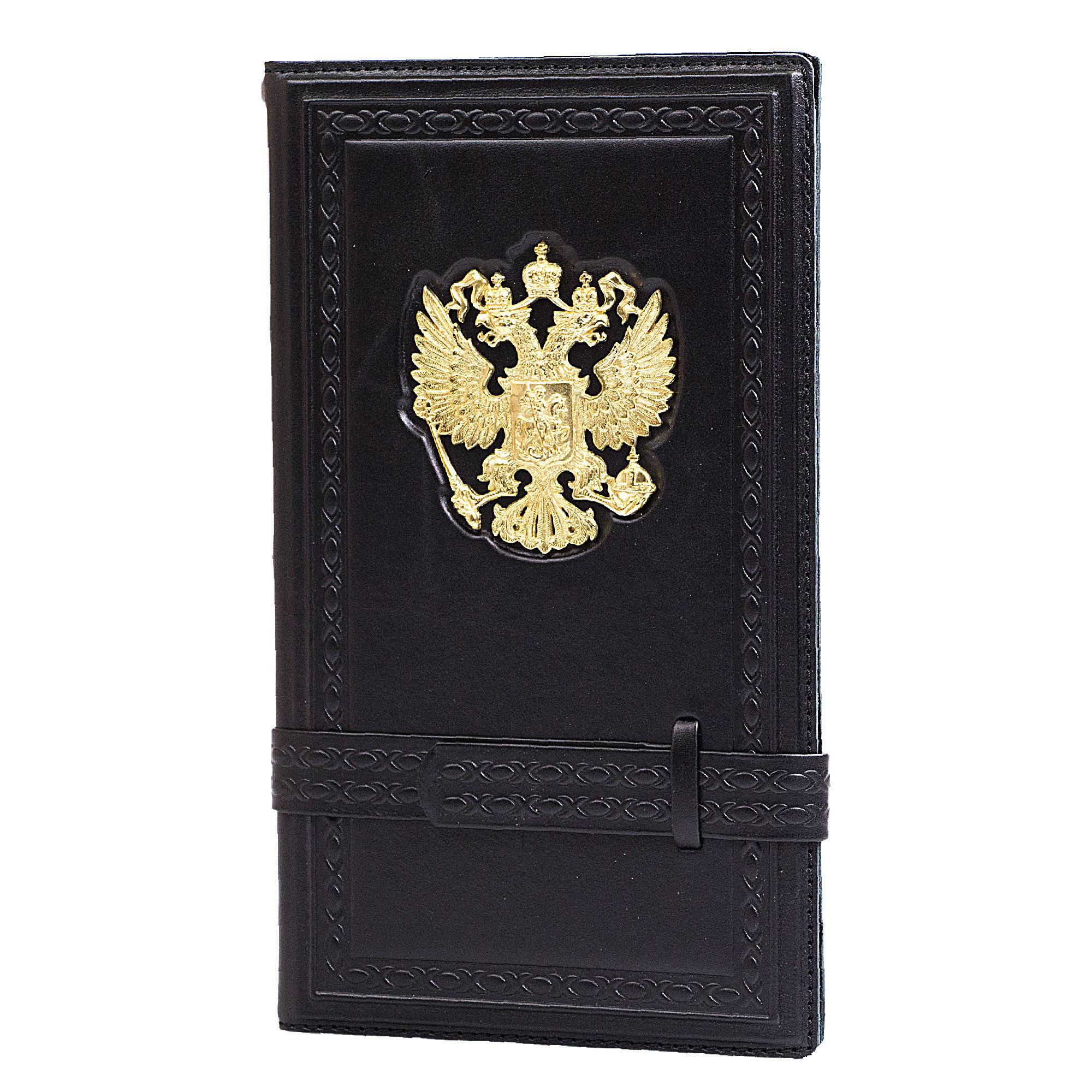 Визитница настольная кожаная «Россия златоглавая» черная А60501