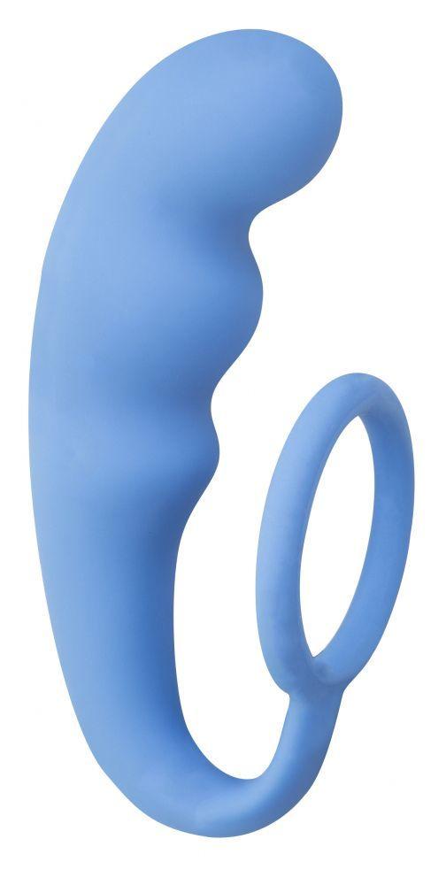 Эрекционные кольца: Голубое эрекционное кольцо с анальным стимулятором Mountain Range Anal Plug