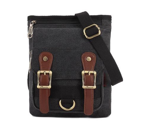 BAG389-1 Мужская городская сумка через плечо из ткани черного цвета