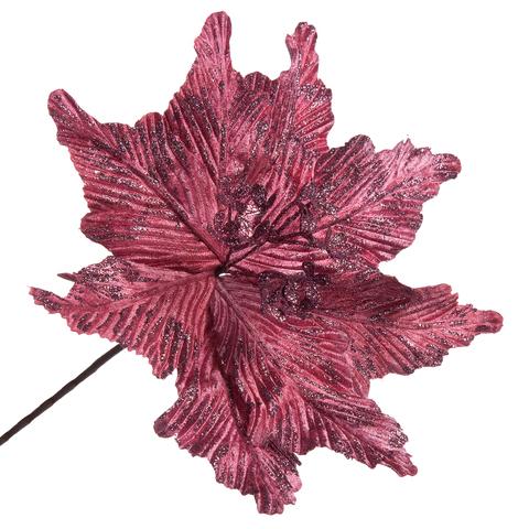 Цветок  ПУАНСЕТИЯ тёмно-розовая 29см