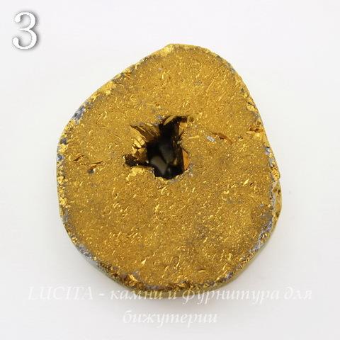 Бусина Агат с Кварцем с жеодой (тониров), цвет - золотой, 25-30 мм (№3 (27х25 мм))
