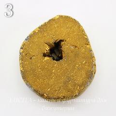Бусина Агат с Кварцем с жеодой (тониров), цвет - золотой, 25-30 мм