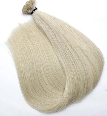Волосы на кератиновых капсулах цвет  Холодный  светлый блонд -52 см