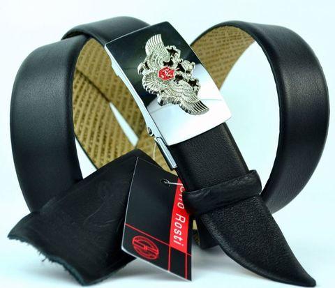 Качественный ремень мужской брючный чёрный дутый из натуральной кожи оленя 35 мм с гербом Россиии Olio Rosti 35Ol.Rosti-Z-013