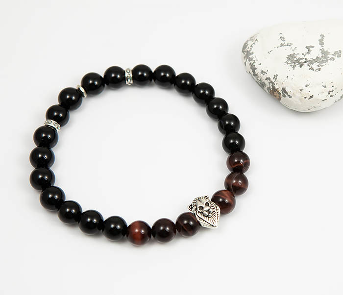 BS790 Мужской браслет из камня со вставкой - львом (19,5 см) фото 02