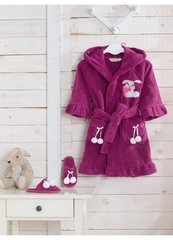 Халат детский махровый для девочки с тапочками  BUNNY БАННИ фиолетовый/ Soft Cotton (Турция)