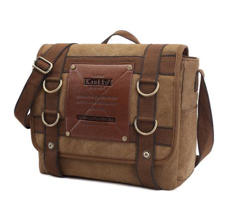 BAG390-2 Удобный мужской портфель из ткани цвета хаки с ремнем на плечо (вмещает А4)
