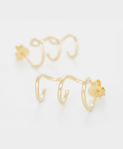 Серьги TRIPLE HOOP GOLD