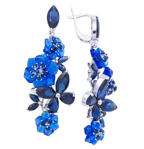 Серьги с цветами из синего кварца и сапфиром Арт.2199/1сс
