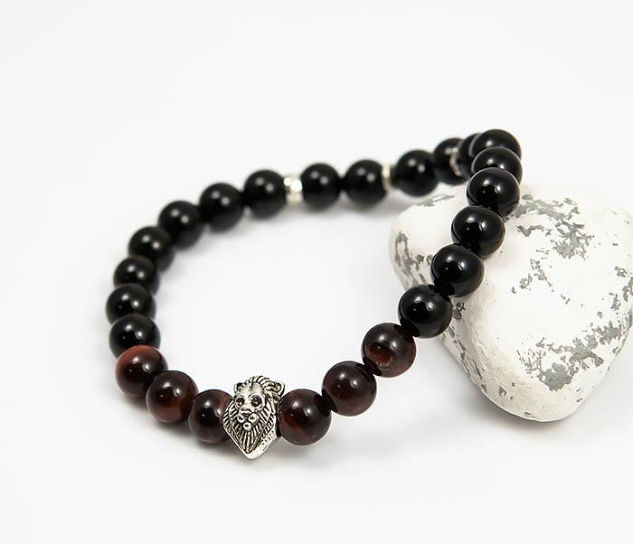 BS790 Мужской браслет из камня со вставкой - львом (19,5 см) фото 04