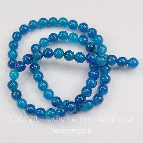 Бусина Агат (тониров), шарик, цвет - синий, 6 мм, нить (светлые)