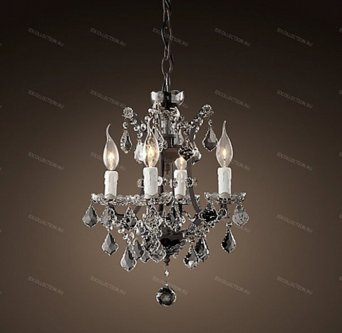 replica  19TH C. ROCOCO IRON & CLEAR CRYSTAL ROUND Restoration Hardware 68290056