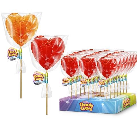 Леденцовая карамель на палочке Сердечко Dendy Candy 1кор*4бл*30шт 40гр