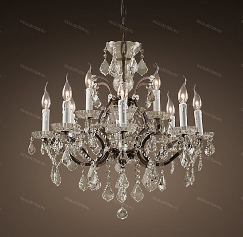 replica  19TH C. ROCOCO IRON & CLEAR CRYSTAL ROUND Restoration Hardware 68060279