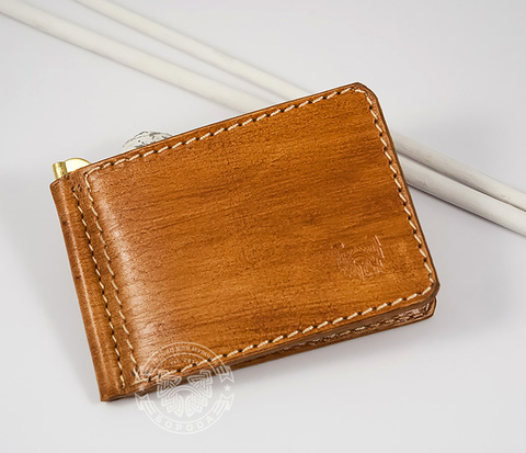 WB156-3 Мужской зажим для купюр из натуральной кожи, ручная работа, &#34Boroda Design&#34