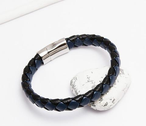 Мужской браслет из кожи черного и синего цветов (21 см)