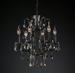 19th C. Rococo Iron & Smoke Crystal Round Chandelier 18
