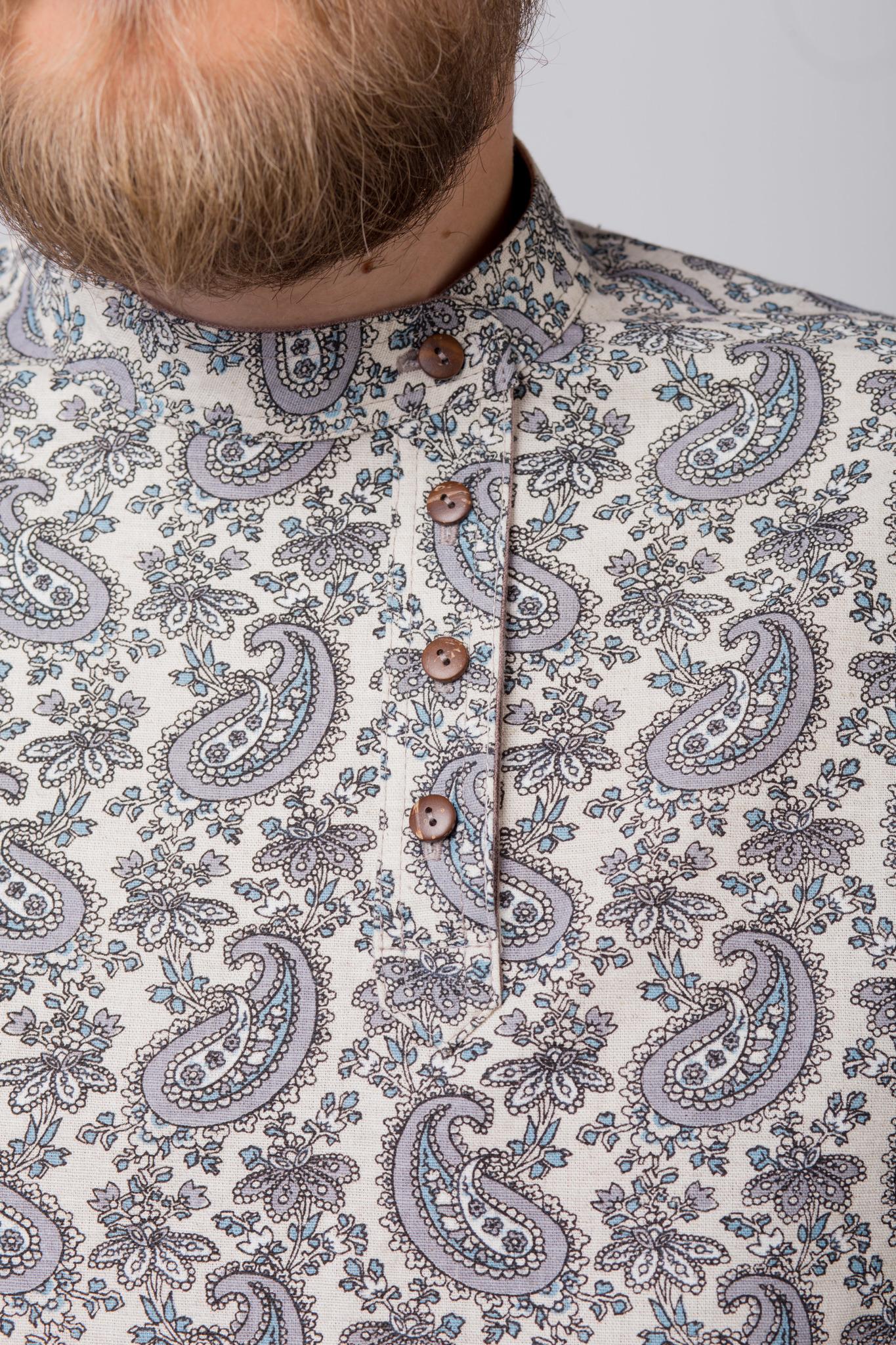 Рубашка льняная Огурцы застёгнутый ворот