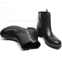 Ботинки без шнурков женские Jina 6845 Leather Black.