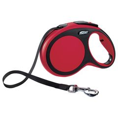 Поводок-рулетка Flexi New Comfort S (до 15 кг) лента 5 м черный/красный