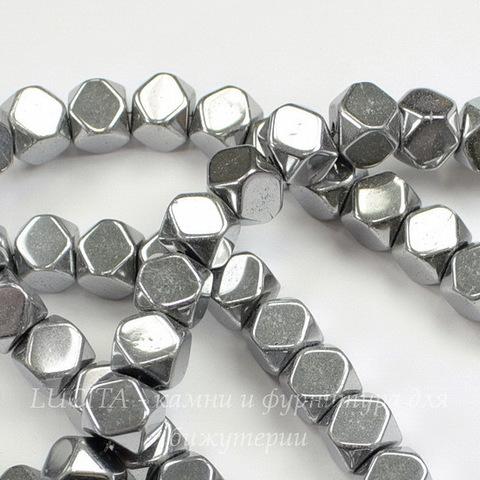 Бусина Гематит (Категория A), многогранник, цвет - серебро, 8х8 мм, нить