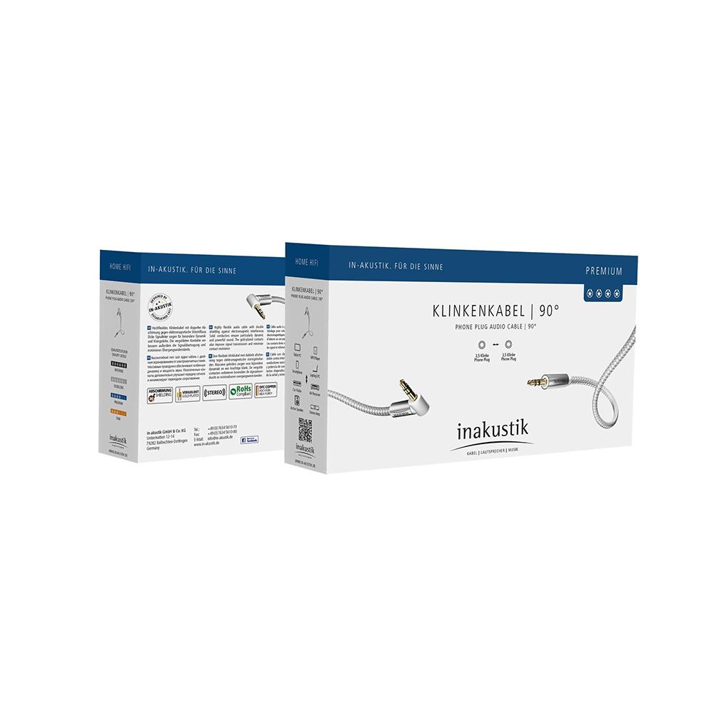 Inakustik Premium MP3 Audio Cable 90°, 3.5 Phone plug, 1.5 m, 004104015