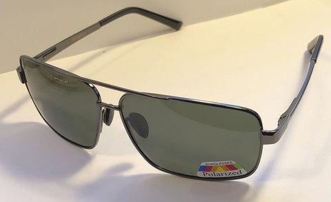 Серо-зеленые поляризованные очки с прочной металлической оправой классической формы .