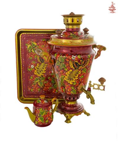 Самовар угольный расписной «Райский сад» формой рюмка 5 л в наборе с подносом и чайником
