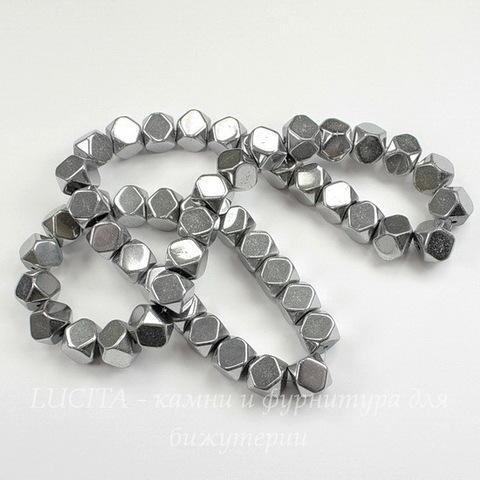 Бусина Гематит немагнитный (Категория A), многогранник, цвет - серебро, 8х8 мм, нить