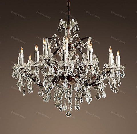 replica  19TH C. ROCOCO IRON & CLEAR CRYSTAL ROUND Restoration Hardware 68060230