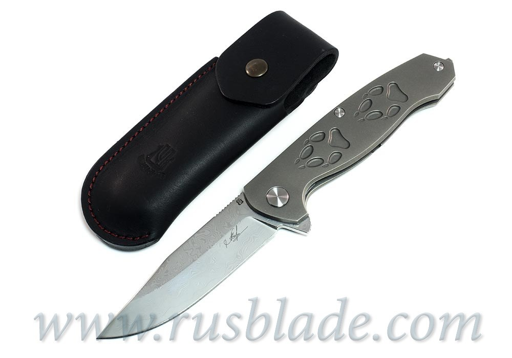 Cheburkov Wolf Damascus Folding Knife Best Russian Knives