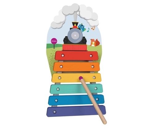 Vertiplay Игрушка на стену- Деревяный ксилофон Музыкальное путешествие на поезде